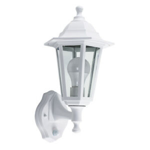 Outdoor White Glass Dusk Till Dawn Sensor Wall Light Garden Lantern
