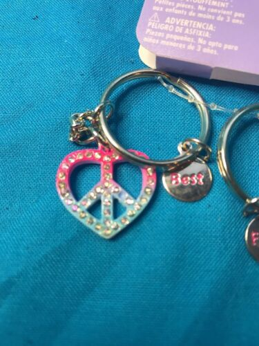 New Pair Claire/'s BFF Best Friends Heart Shaped Piece Sign Keychains New!