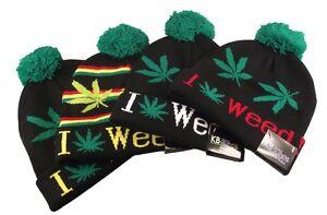 High Life Beanie Hat Limited Edition Black Multi Ganja Leaf 360 Beanies