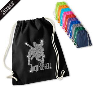 Turnbeutel-Beutel-Rucksack-Sporttasche-Sportbeutel-Strass-Hund-Jack-Russell-M1