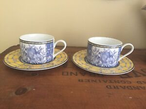 4-Piece-Set-of-2-Coventry-PALACE-GARDEN-Cup-amp-Saucer-Cups-amp-Saucers