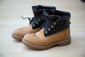 Details zu TIMBERLAND Boots Stiefel beige schwarz Lack gesteppt quilted limited Gr. 41,5 8W
