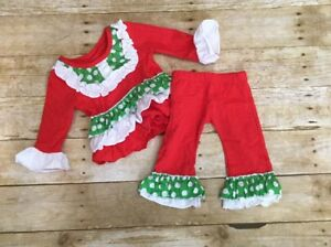 Girls Christmas red green polka dot pants ruffle outfit size 2T toddler