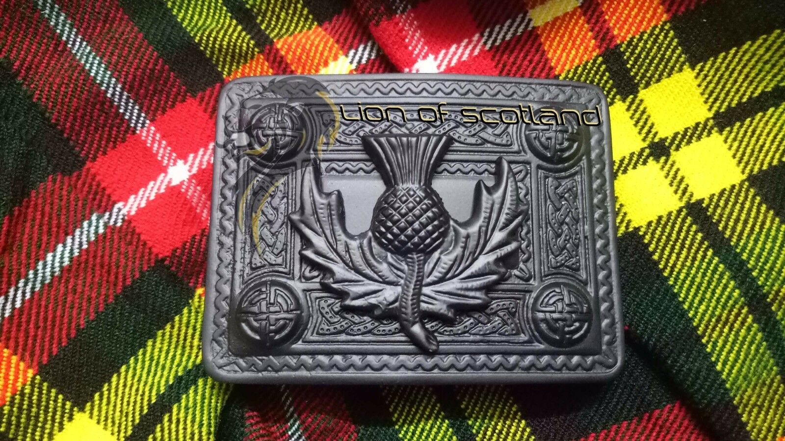 Scottish Thistle Crest Kilt Belt Buckles Celtic 4 Demo Jet Black Finish Celtic