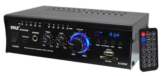NEW Pyle PCAU46A Mini 2x120 Watt Stereo Power Amplifier With CD/USB/SD/AUX