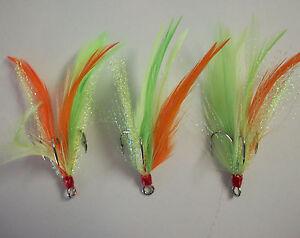 3 Dressed Feather Flash Treble Hooks Hook size 1//0 *