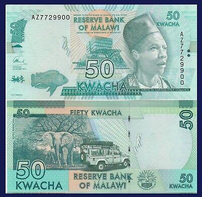 elephant Malawi P64 50 Kwacha safari jeep // bank UV /& watermark images UNC