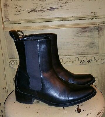 COLE HAAN BLACK LEATHER SHORT RIDING ANKLE BOOTS LADIES WATERPROOF 8.5 M