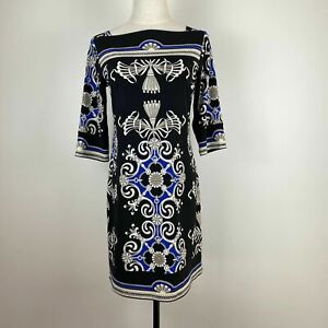 Jane Lamerton Womens Black Blue Boat Neck Baroque Stretch Dress Size 10 A10