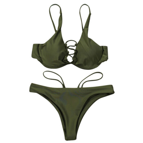 2tlg Damen Bandage Bikini Set Push up Brazilian Badeanzug Bademode Schwimmanzug