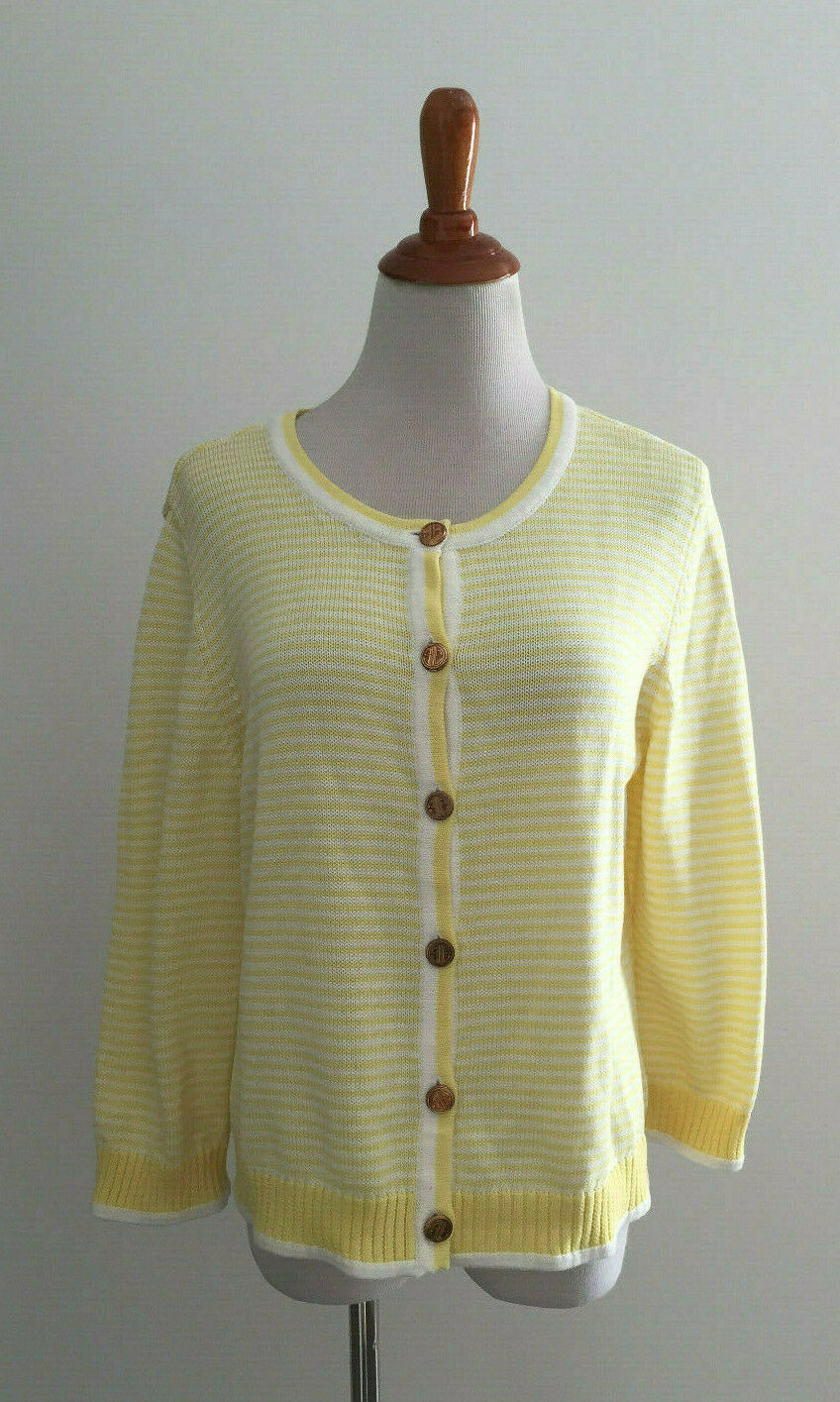 Lilly Pulitzer Yellow and White Striped Cardigan Sweater sz Large