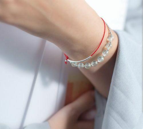 Free Ship 1//10pcs Argent Noir Velours Rouge sourire Bar Tube fin Lucky Chain Bracelet