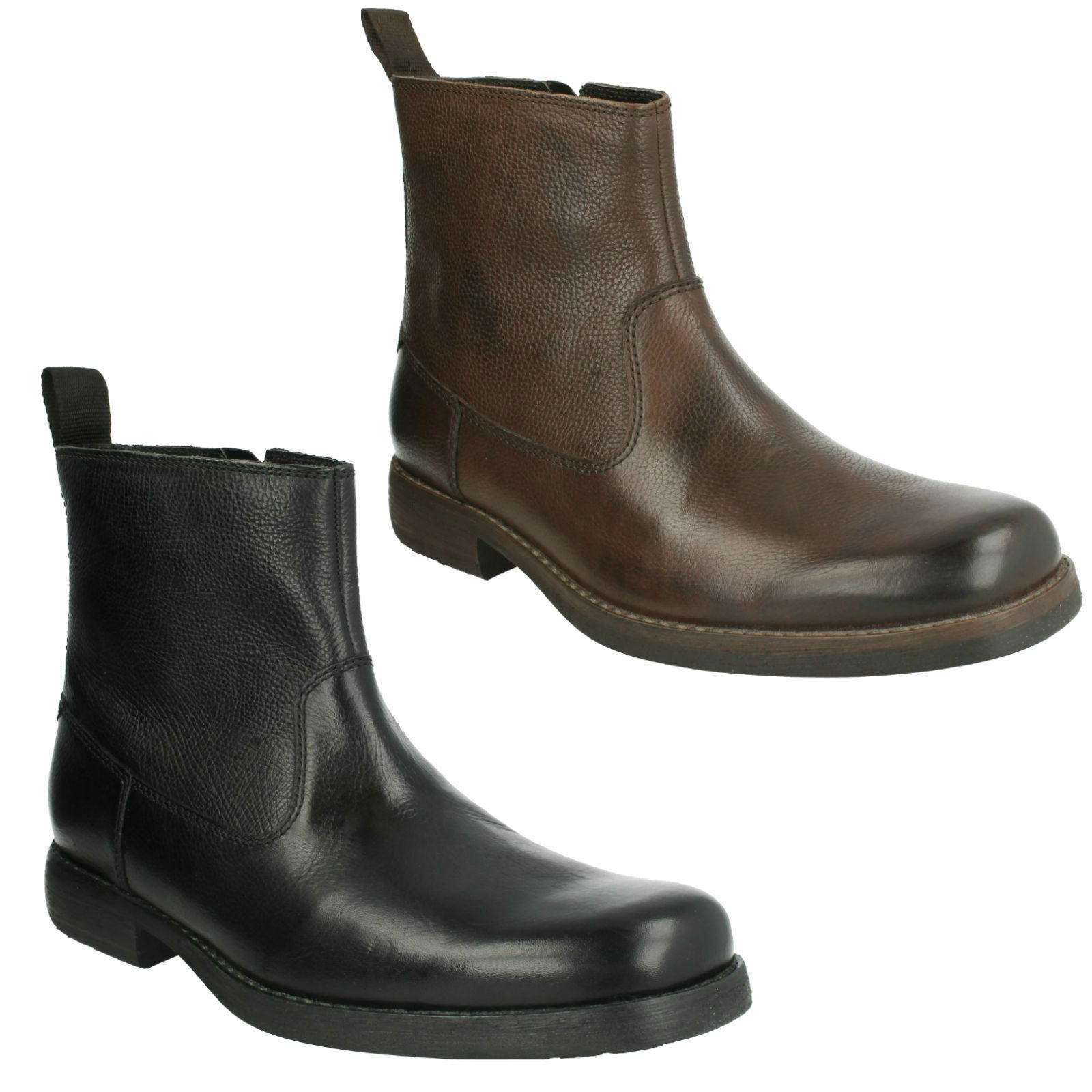 CLARKS MENS ROUND TOE SMART CASUAL FORMAL LEATHER ZIP UP Stiefel ASHBURN ZIP