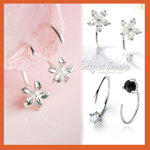 Sterling-Silver-Gem-Diamond-Flower-Ear-Nose-Stud-Open-Ring-Hoop-Earring-Piercing