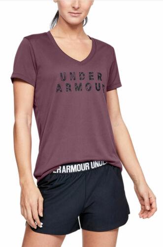 Under Armour Damen Fitness-Sport-T-Shirt UA Tech V-Ausschnitt Grafik dunkellila