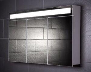 Details zu 120 cm Spiegelschrank EVEN120 Spiegel Badezimmerschrank  Beleuchtung Steckdose
