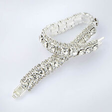 Lucky Womens square Crystal charm bracelet White gold fiiled free shipping