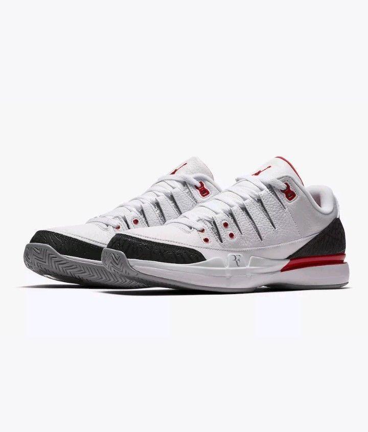 Nike - x aj3 zoom di vapore vapore vapore di roger federer Uomo misura 7,5 fuoco bianco rosso 709998 106 077ceb