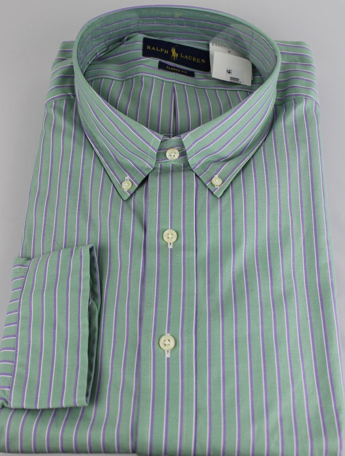 05377f5a94 Polo Ralph Lauren Dress Shirt Mens 19 38 39 Classic Fit Green Purple ...