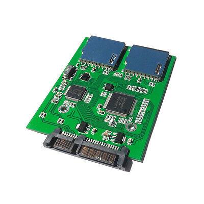 2 Port Dual SD SDHC MMC RAID to SATA Adapter Converter  No Card Size Limit