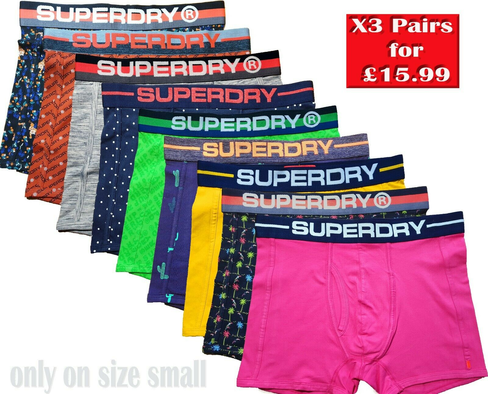 Size M 3 Pack Superdry Boxer