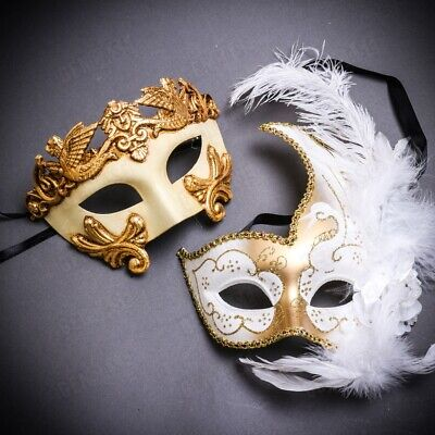 Couple Masks Masquerade Ball Costume White Gold Feather Venetian Phantom Masks