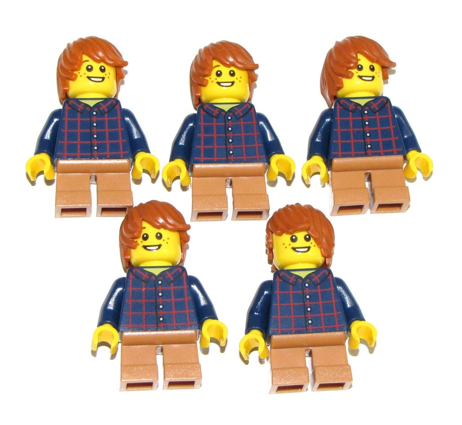 Lego Lot Of 5 Nuevo Plaid Camisa Botón Medio Oscuro Carne Corta Piernas orange