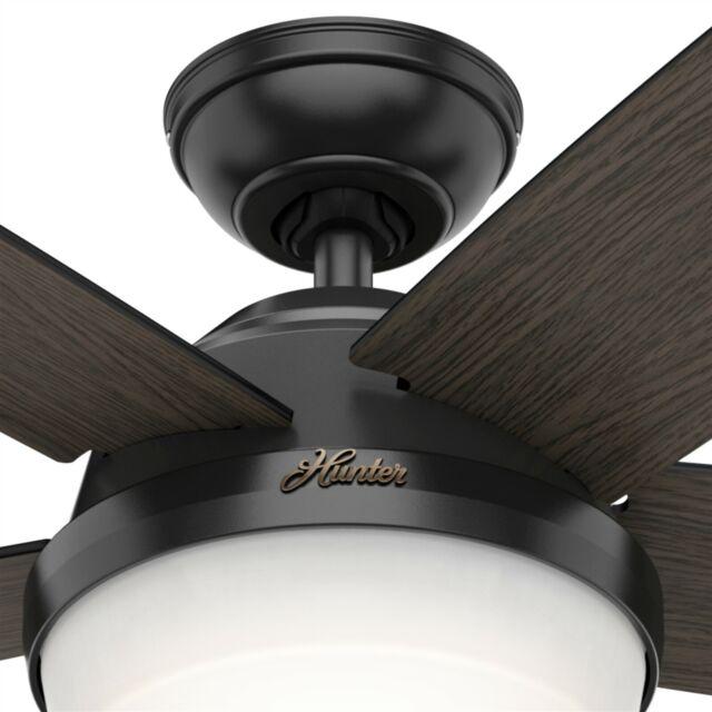 Hunter Fan 52 inch Contemporary Matte Black Ceiling Fan with Light Kit /& Remote
