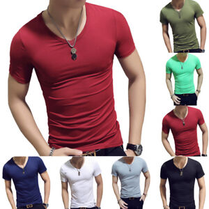 Men-Summer-T-Shirt-Short-Sleeve-Gym-Sports-Slim-Fit-V-Neck-Solid-Top-Tee-Shirt