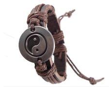 Tibetan silver yin ying yang sign ethnic hemp leather charm bracelet