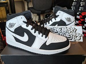 3fbed434c5b694 Nike Air Jordan Retro I 1 Mid White Black Tuxedo Basketball Men s ...
