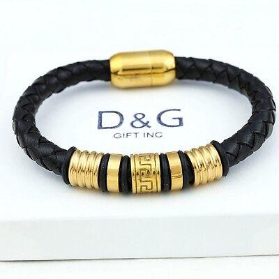 """DG Men's,Stainless Steel 8"""" Black,Braided Leather Magnetic Bracelet*Unisex + BOX"""