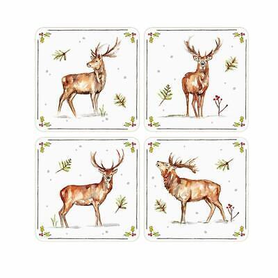 Cork Back Christmas Stags Christmas Winter Stags Print Coasters Set of 4