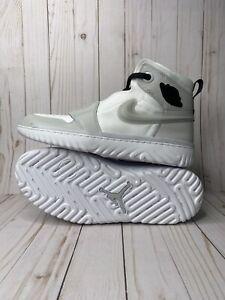 Nike Air Jordan 1 High React Mens Size 9 5 White Grey Fog Black