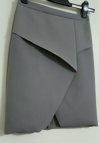 NEW Ex TopShop 6-12 Grey Silver Wrap Front A-Line Midi Skirt Smart Party Formal