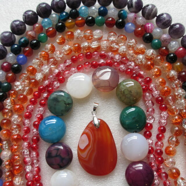 10 Strands Mixture Of Agate Coral Gemstone Crystal & Crackle Glass  In Many Cols