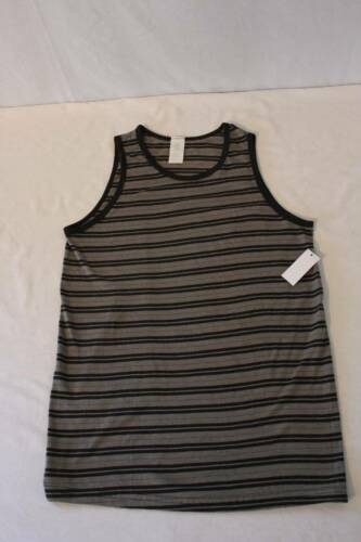 NEW Boys Tank Top Youth Medium Size 10 Gray Black Striped Shirt Workout Gym Lift