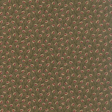 OLD CAMBRIDGE PIKE~BY 1/2 YD~MODA FABRIC~8322-12~CIVIL WAR~TAN LEAVES ON GREEN