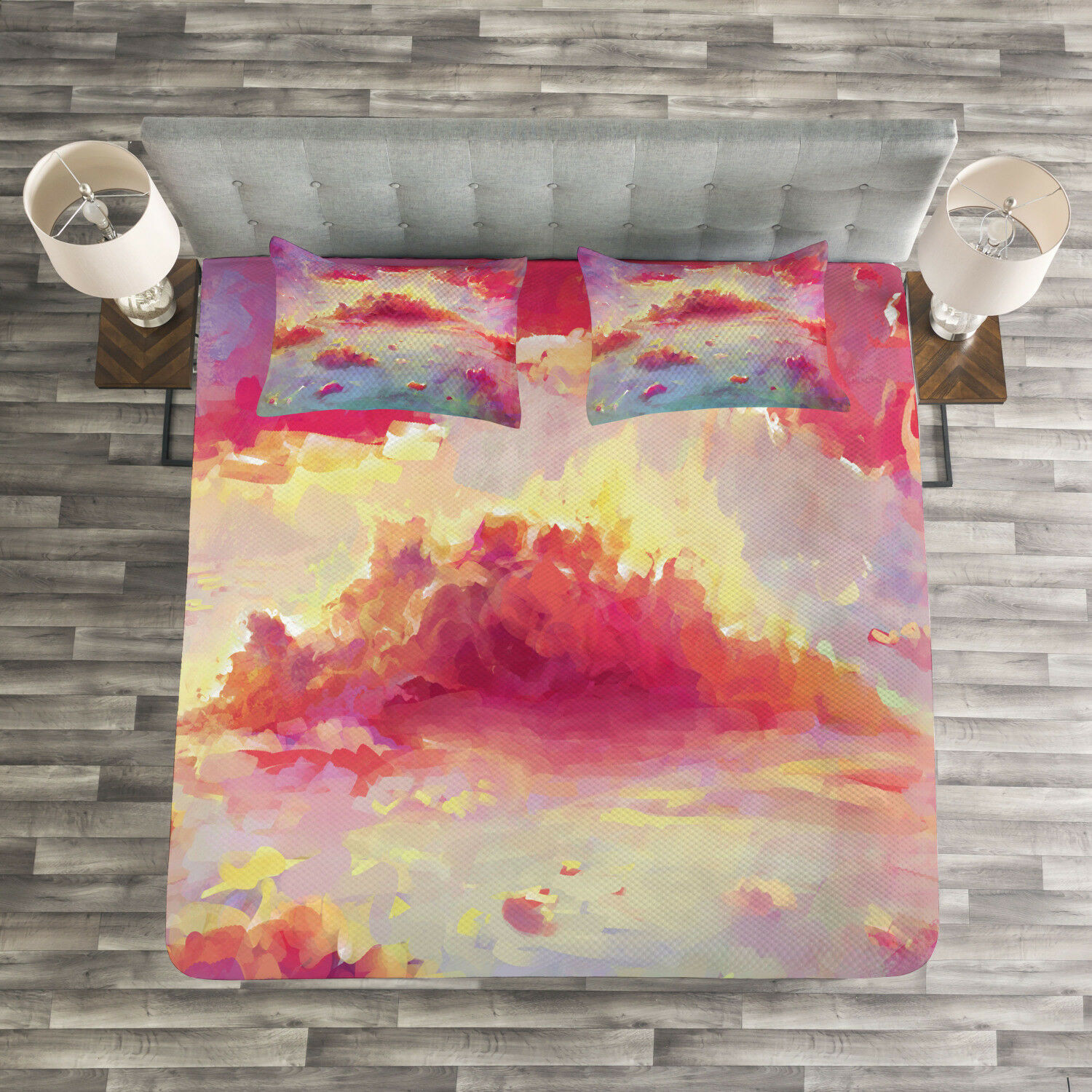 Coral Quilted Bedspread & Pillow Shams Set, Vibrant Clouds Scenic Print