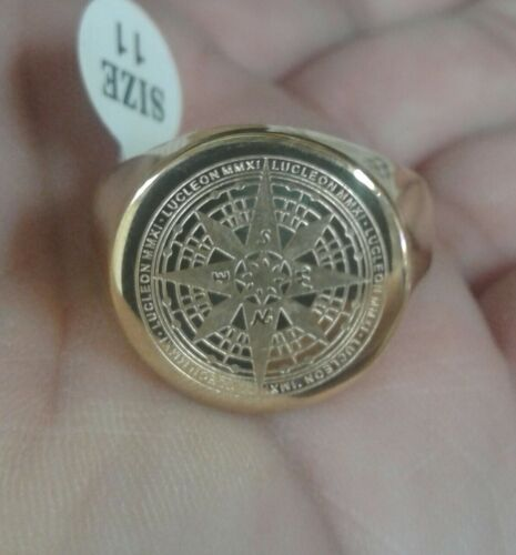 Mens Gold Tone Compass Ring Stainless Steel