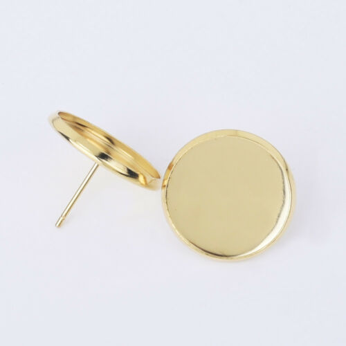 Stainless Steel Round bezel Earring Blanks earring base Bezel Earring Stud 30pcs