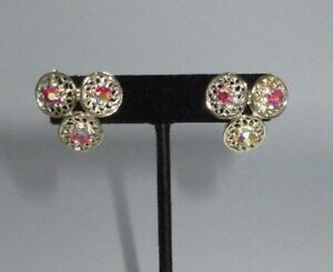 Coro-Signed-Gold-Tone-Pink-AB-Rhinestone-Huggie-Cluster-Clip-On-Earrings-Vintage