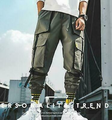 RWBN Chic Men Pockets Cargo Pants Harem Joggers Baggy Harajuku Hip Hop trousers
