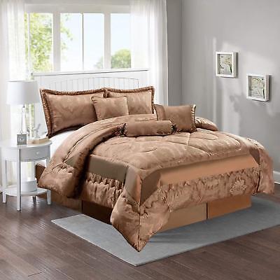 Ingegnoso 7pcs Luxury King Size Copriletto Set Con Valance Foglio & Cuscino Shams 240x260 Cm-mostra Il Titolo Originale Eccellente Nell'Effetto Cuscino
