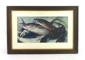 Vintage-Framed-Lithograph-Print-of-New-England-Cod-Fish-Lobster-Food-Still-Life