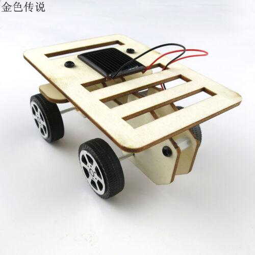 New arrival Self assembly DIY Mini Wooden Car Model Solar Powered Kit 4WD Smart