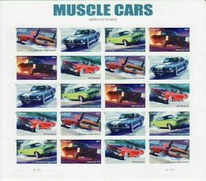 Muscle-Cars-Full-Sheet-of-20-Forever-Postage-Stamps-Scott-4743-47