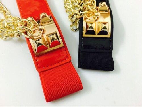 Women Tassel Elastic Stretch Waistband Waist Belt Black Red