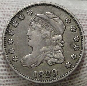 1829-Capped-Bust-Half-Dime-H10C-5-Cents-Nice-Old-Coin-Free-Shipping-6914