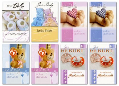 50//100 Glückwunschkarten Zum Baby Zur Geburt Kinder 8 Motive Grußkarten 31-2060